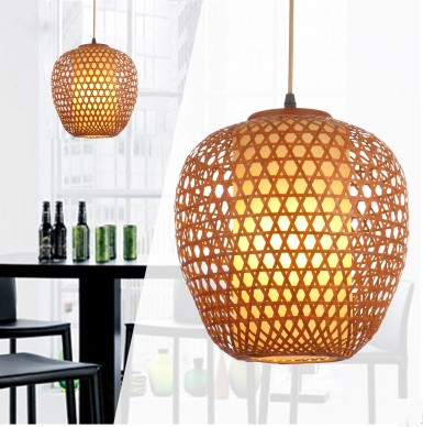 ФОТО Chinese traditional bamboo hand-woven pendant lights American vintage nostalgic hang lights for vestibule&corridor&porch LDK001