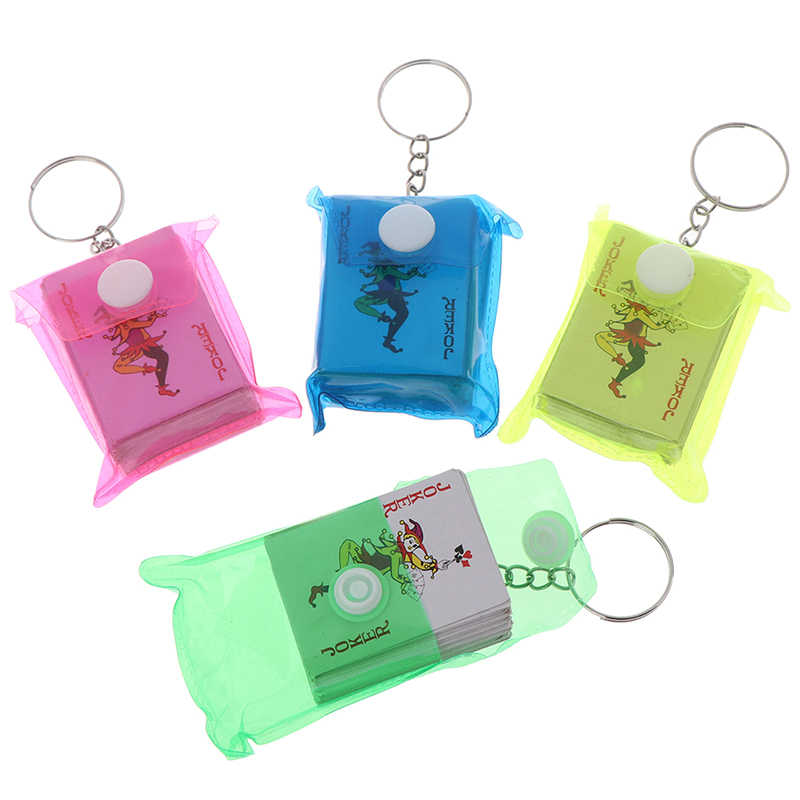 1Pc Portable Mini Playing Cards Keychain Small Board Game Key Chain 4*3cm