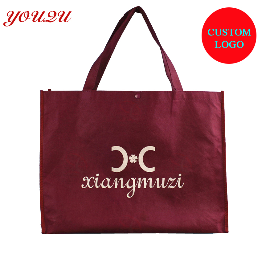 customized non woven tote bag with Button close at top part welcome logo printing