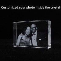 Custom Personality Memorable Photo Laser Engraving Decorative Crystal Block Wedding Anniversary Commemoration day Photo Frame