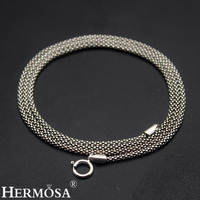 2mm 100% 925 Sterling Silver Snake Chain Necklace Retro Charms Choker Necklaces 17'' Wholesale