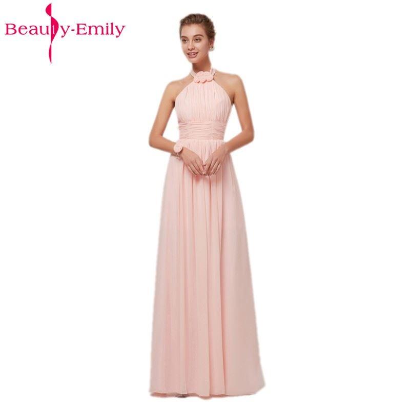 Beauty Emily Pink Long Simple Chiffon Evening Dresses 2018 Women ...