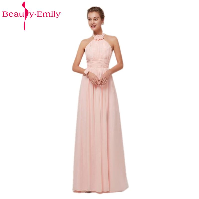 Beauty Emily Pink Long Simple Chiffon Evening Dresses 2019 Women Formal Long Evening Party Prom Dresses Evening Gowns