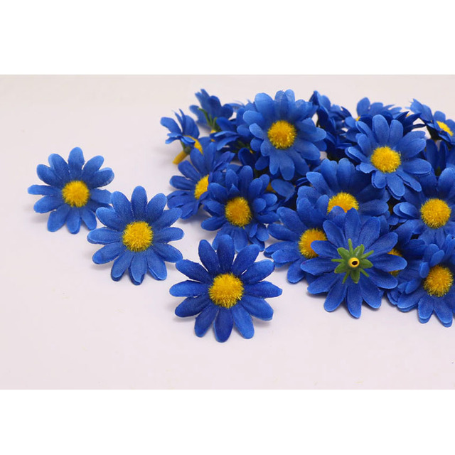 NEW 100pcc\Lot BLUE color Gerbera Daisy Heads Artificial Silk Flowers Wedding party home Decoration DIY festive party supplies