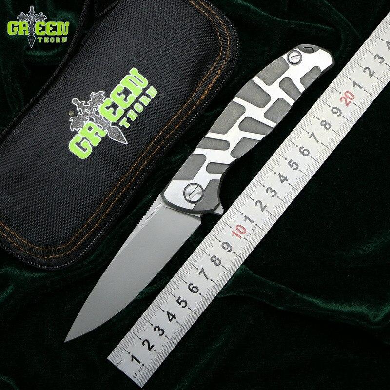Vert épine Flipper 95 D2 lame en acier T mode Titane poignée camping en plein air chasse poche cuisine fruits couteau pliant EDC outil