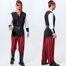 Free shipping mens Halloween pirate costumes adult male Pirate of the Caribbean sailor role playing Cosplay performance costume