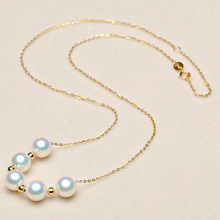 Sinya Cute 18k gold beads Natural Round Pearls necklace for ladies women mom girls gift with 45cm au750 chains best