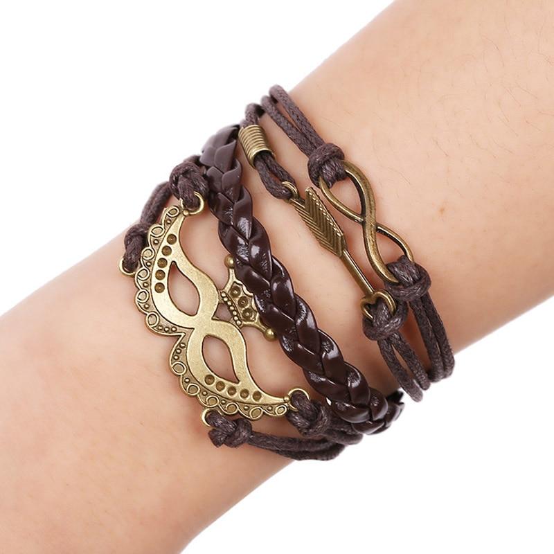 1Set Multilayer Leather Bracelet Men Jewelry Rock Bronze Love God Cubid Mask Bracelets For Women Vintage Bracelets & Bangles