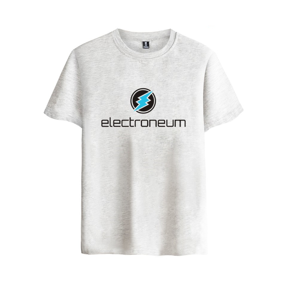 Electroneum Logo Print T-shirt Electroneum cryptocurrencies Cotton tee shirt Short Sleeve Sleeve Blockchain  Bitcoin clothes 5