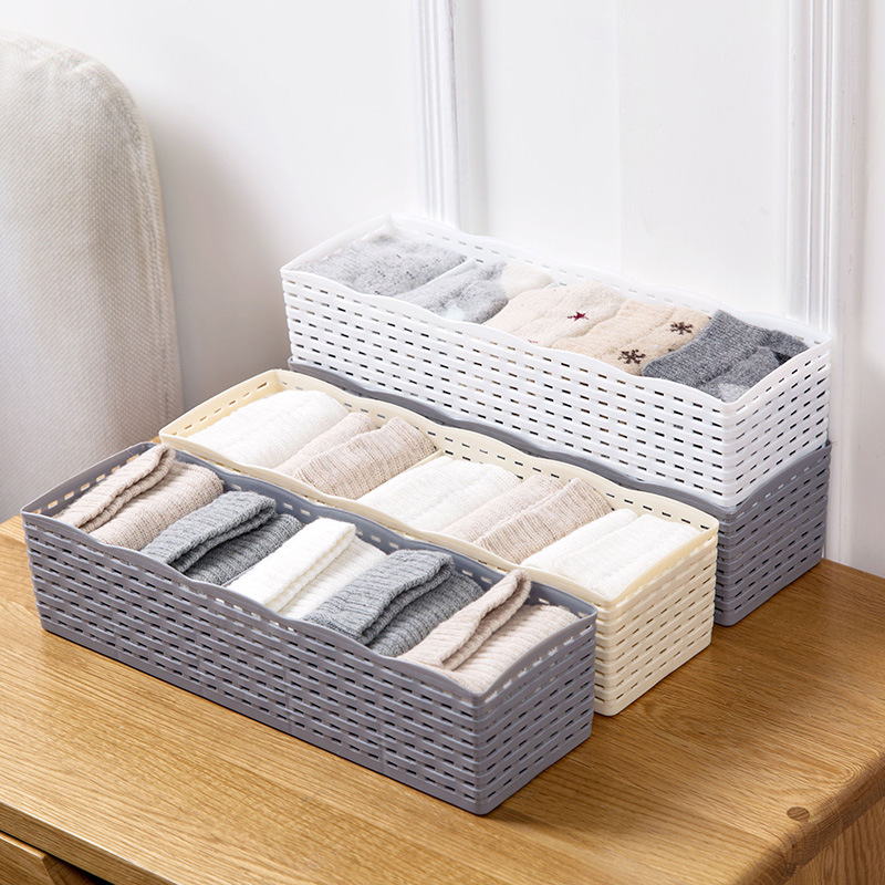 US $1.95 41% OFF|IVYSHION 5 Grids Storage Basket Wardrobe Organizer Women  Men Storage Box For Socks Underwear Plastic Box Cosmetic Organizer-in ...