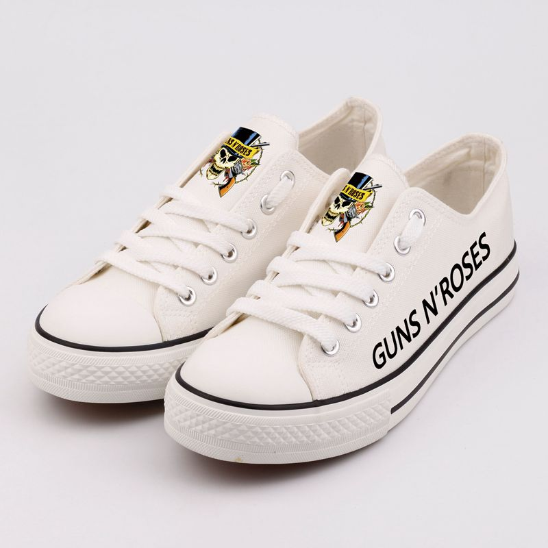 Heavy Metal Rock Band Printed Canvas Shoes Low Top Casual Shoes Women Street Style Hip Hop Designer Tenis Shoes Zapatos printed assassins creed canvas shoes fashion design hip hop streetwear unisex casual shoes graffiti women flat shoe sapatos
