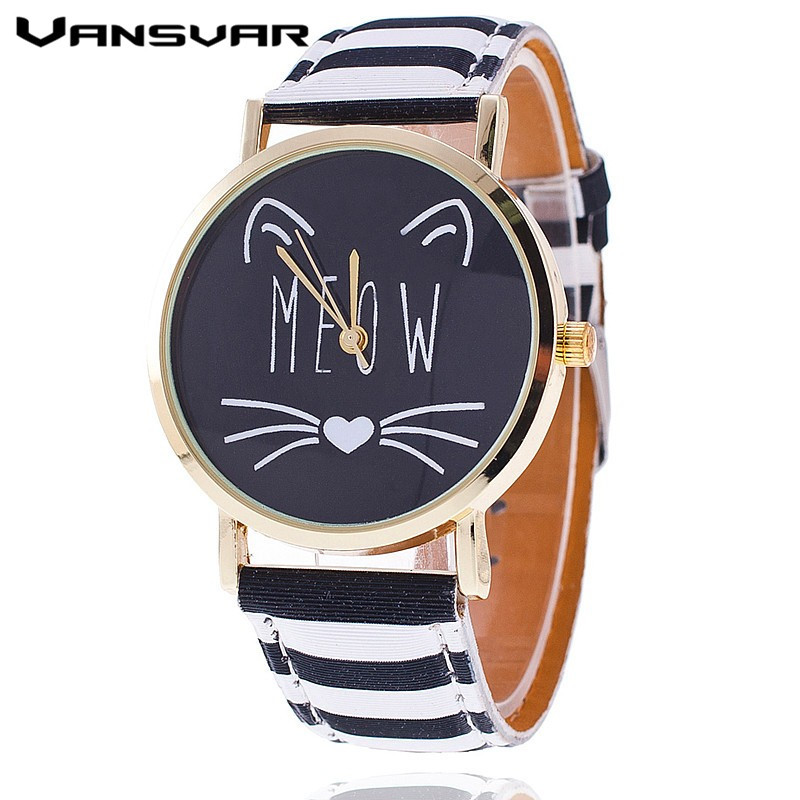 2017 New Fashion Lovely Meow Cat Watch Casual Women Wristwatch Luxury Quartz Watch Relogio Feminino Gift Clock Drop Shipping new fashion unisex women wristwatch quartz watch sports casual silicone reloj gifts relogio feminino clock digital watch orange