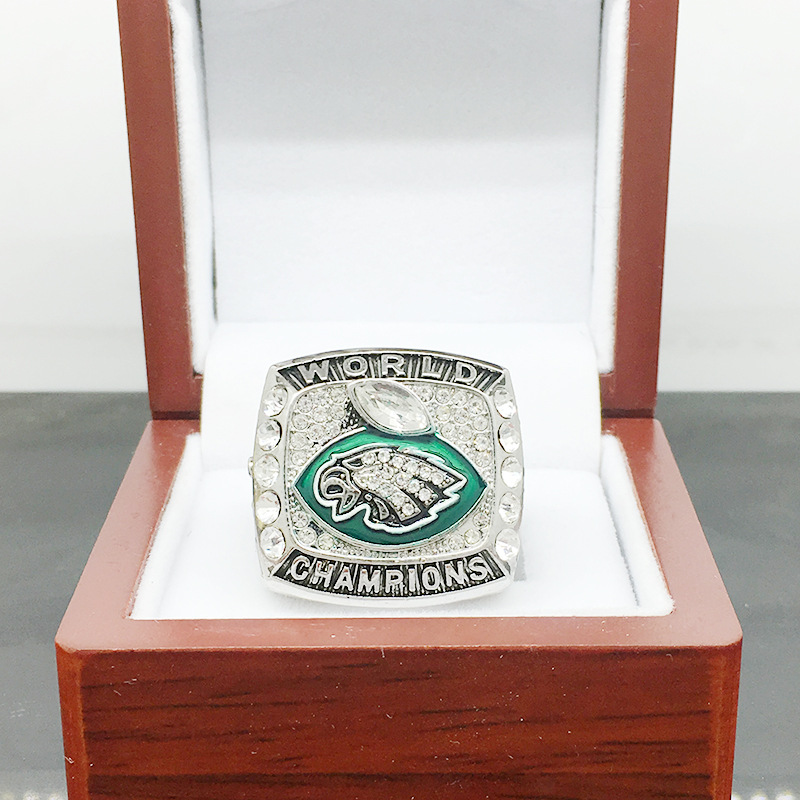 hot-Sale 2017- 2018 Philadelphia Eagles Championship ring Zinc alloy rings for men high quality Size 8-14