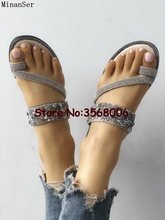 2aa998a1f818a Bling Bling Rhinestone Sequins Embellished Handmade Clip-toe Slippers Cross  Crystal Strap Woman Summer Flip-flops Shoes Flats