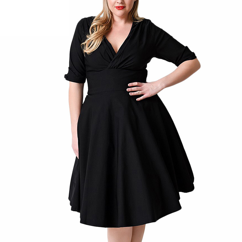 2018Dress women plus size Super elastic V-neck summer half sleeve high waist dress casual black vestidos 4xl 5xl <font><b>6xl</b></font> <font><b>7xl</b></font> 8xl <font><b>9xl</b></font> image