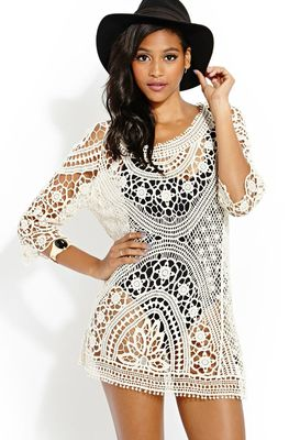 Cape white crochet smock dress outside Europe and the United States a bikini blouse is hollow-out sweater lace loose sand skirt