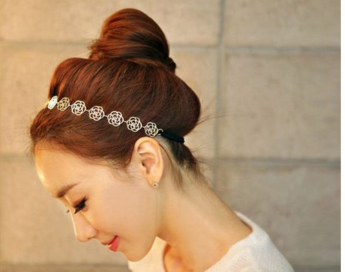 Supply hot the latest fashion gold rose  women elastic hair bands