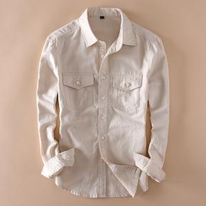 Image 3 - Brand 2020 Mens Long Sleeve Casual Linen Shirt Mens Social Turn down Collar Slim 2 Pockets Solid White Designer Dress Shirts XXL