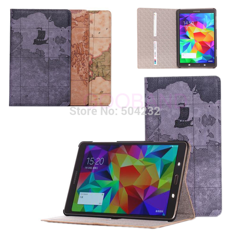 D-S World Map Pattern Card Wallet Stand Leather Case For Samsung galaxy Tab S 8.4 SM-T700