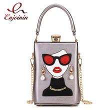 Wysokiej jakości okulary przeciwsłoneczne Sexy wzór kobiety Pu dorywczo kobiet kopertówka torebka torba na ramię kobiet skrzynki Crossbody torba Bolsa