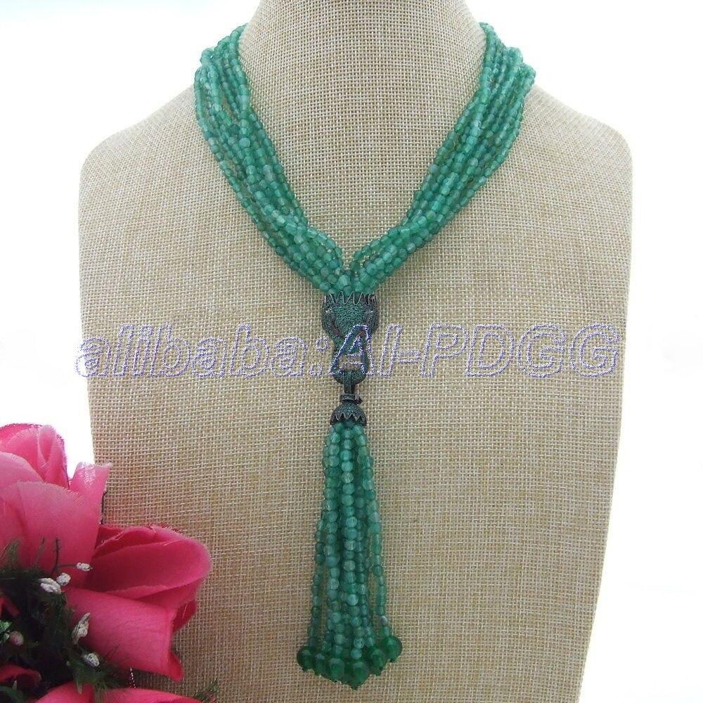 7 Fili Fringle Verde Sfaccettato Onyx Collana Del Pendente Della Cz7 Fili Fringle Verde Sfaccettato Onyx Collana Del Pendente Della Cz