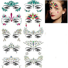METABLE 10 Sets Face Gems Glitter,Women Mermaid Bindi Temporary Stickers Rhinestone Rave Body Jewels festival