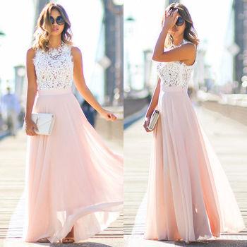 e6fb45c38 Verano vacaciones blanco rosa de encaje de mujeres vestido de gasa sin  mangas vestido de fiesta Maxi largo de noche Vestidos de Fiesta
