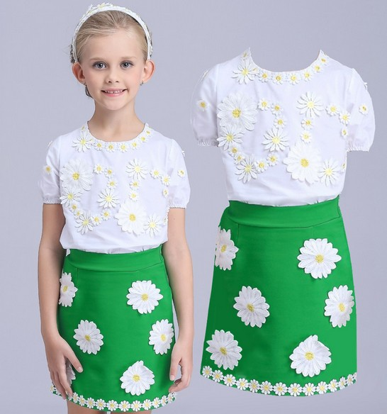Pretty baby summer Dress set Children girls dress clothing sets kids clothes Floral Cotton Dresses Skirts + Cotton T shirt