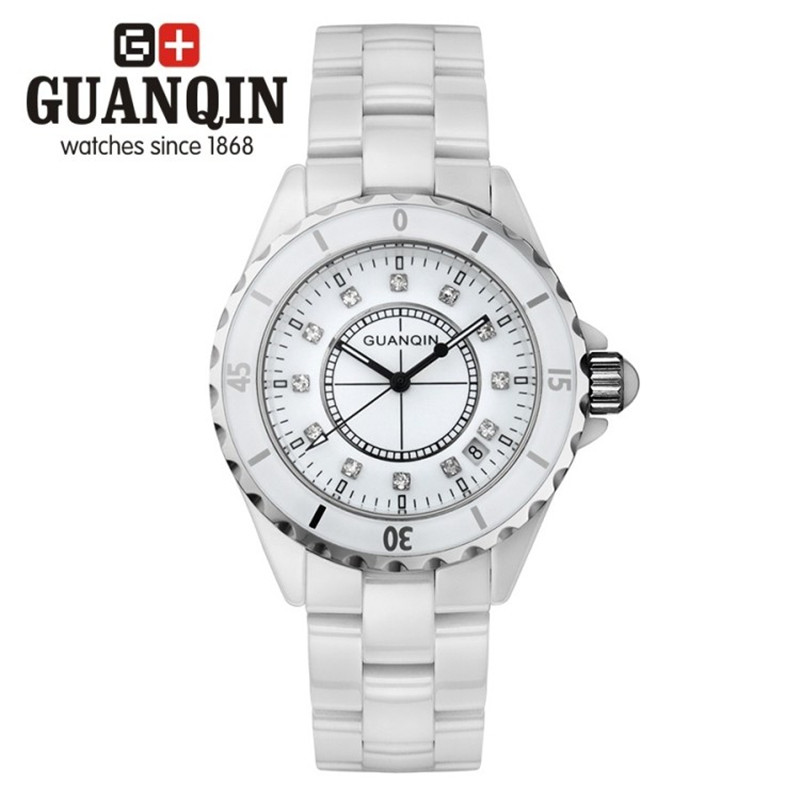 ФОТО Limited Edition GUANQIN Diamond Watch Woman Men  Women Dress Girls Ceramic Lady Quartz Couple Wrist