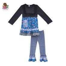 Vêtements pour enfants Set Manches Longues Floral Robes À Volants Pantalon Enfants Haut et En Bas En Bas Âge Filles Coton Tenues D'usure F016
