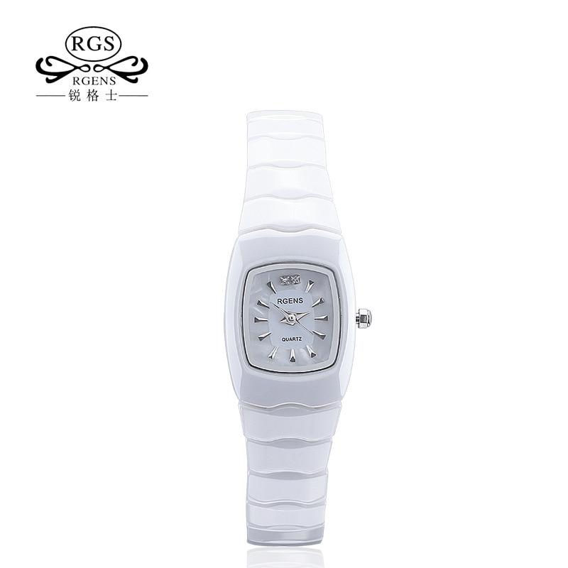 все цены на woman wristwatches waterproof RGENS brand official woman watches square white 100% ceramic quartz diamond calendar ladies clocks