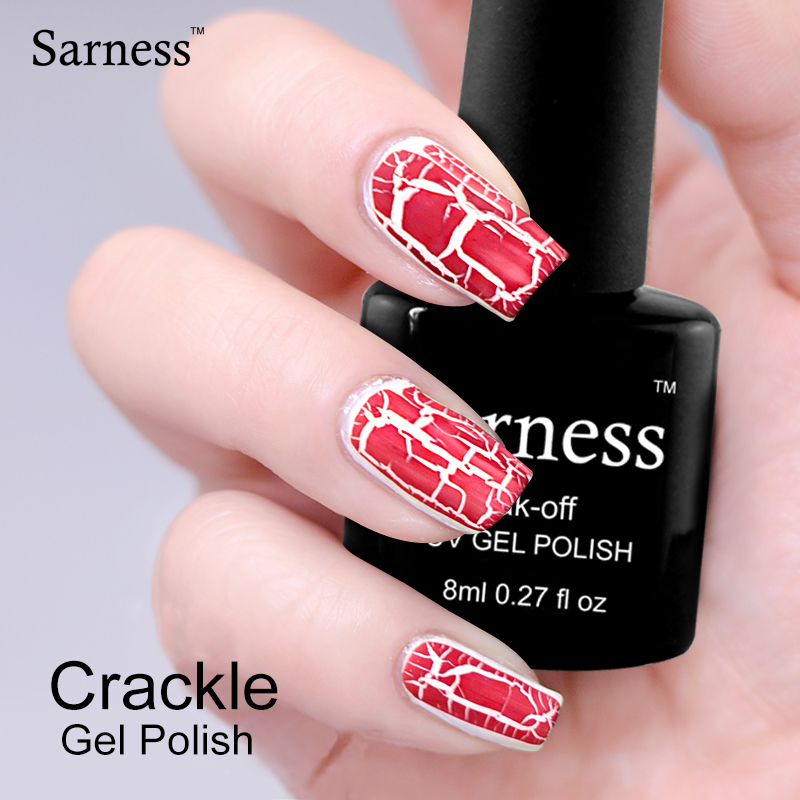 sarness 8ml Crack UV Colorful font b Nail b font Polish soak off Lacquer Shatter Professional