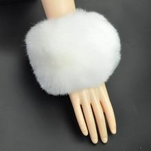 1 Pair Fashion Women's Faux Fox Fur Cuffs Furry Wrist Bands Ankle Warmers White New