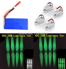 Luminous Propellers & Motors Battery Spare Parts for Syma X8C X8W RC Quadcopter Drone Nice Match