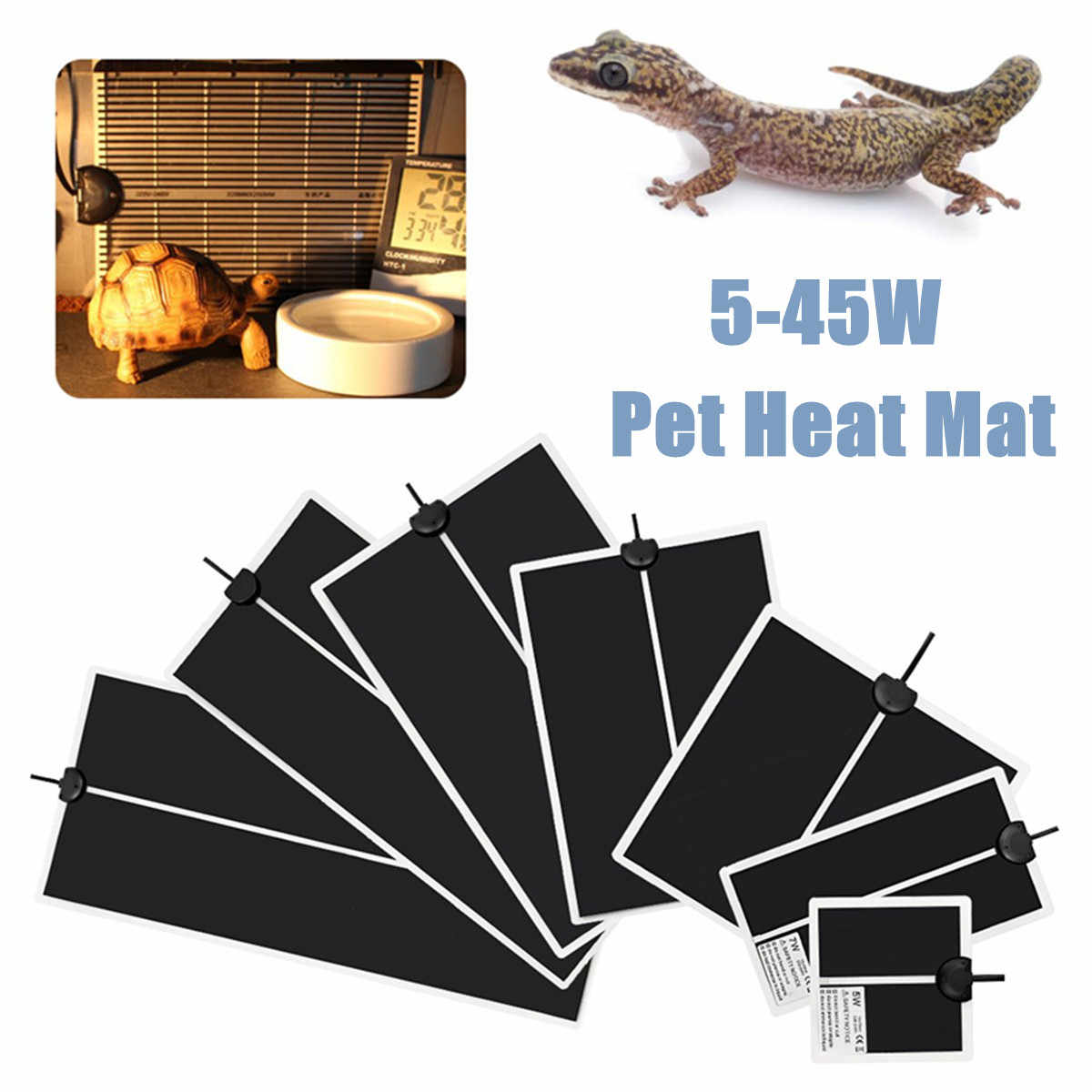 Pet Reptiles Heat Mat Terrarium Climbing Heating Warm Pads 5-45W Adjustable Temperature Controller Mats Reptiles Accessories