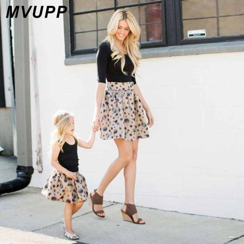 MVUPP Mother Daughter Clothes Family Look Dress Dot Zipper Floral A Line Skirts Mom And Baby Girl Toddler Kids Matching Clothing