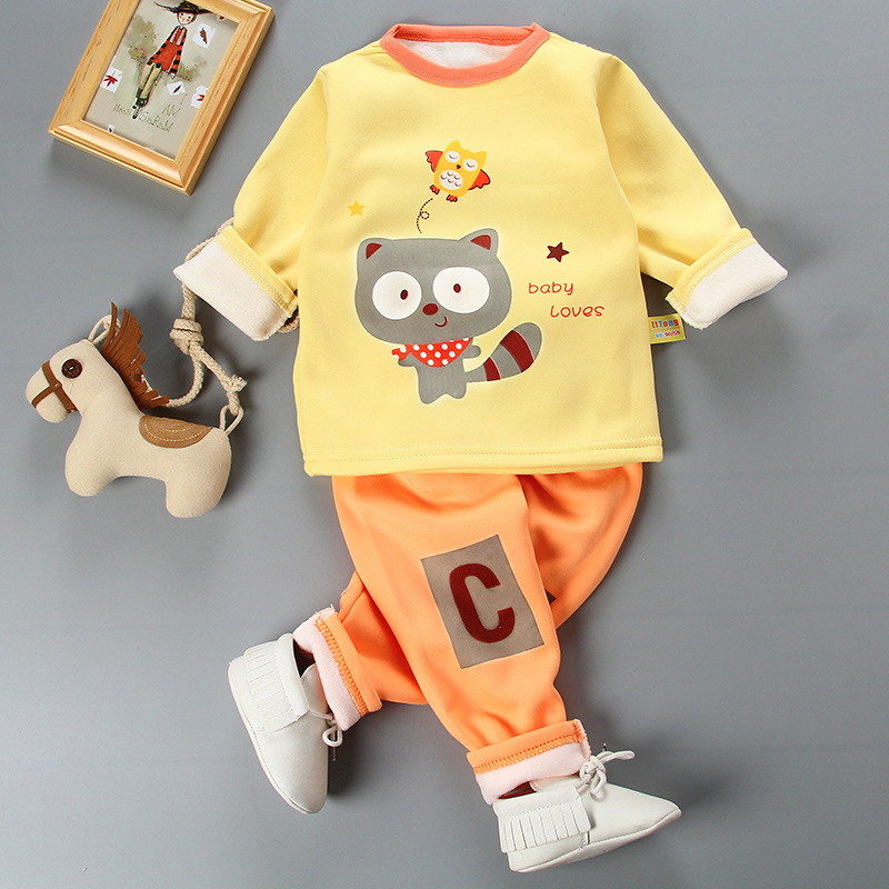 2017 New Autumn&Winter Baby Warmth Package Clothing Sets Two-piece Set of Cartoon Baby Cute Baby Girl Boy Clothes zl900 2pcs set baby clothes set boy