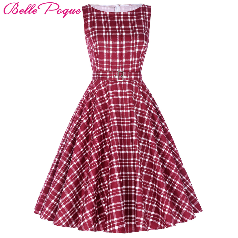 Belle Poque Womens Vintage Plaid Party Dresses 2017 50s 60s Robe Femme Pin Up Retro Summer Clothes Women Rockabilly Clothing