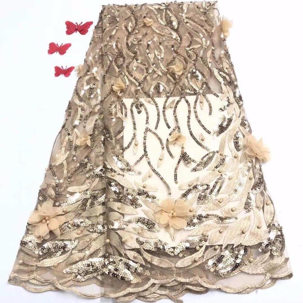 Серый, Красный Новый Французский кружевной ткани Высокое качество бусинами Нигерия 3d Тюль листьев Детские розовый африканская сетка женск...