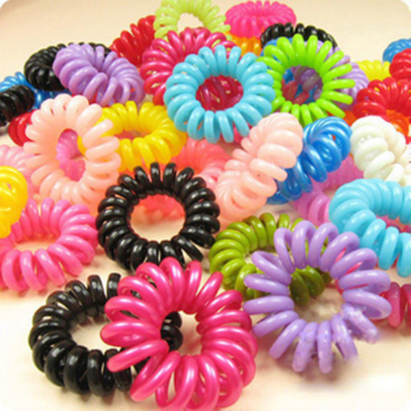 Lovely 10Pcs/Pack Telephone Cord Elastic Ponytail Holders Hair Ring Scrunchies Girl Rubber Band Tie High Quality Accessory