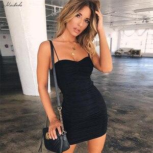Image 4 - Macheda seksi Bodycon bandaj elbise kadın spagetti kayışı siyah kılıf Mini elbise Casual parti boyundan bağlamalı elbise Vestidos 2018 yeni
