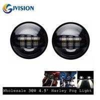 Pair 4 5INCH 30W Motorcycle Headlight Work Driving Lamp Fog Light Lamp Kit For Harley Davidson