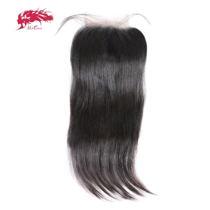 Ali queen hair 5x5 кружева закрытия предварительно сорвал с ребенком волос 12 ~ 20 дюймов бразильские виргинские человеческие волосы прямые волосы Че...