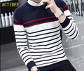 2016 2017 New High Quality Men's Fashion Slim Casual Crew Pullover Long- sleeved stripe Sweater