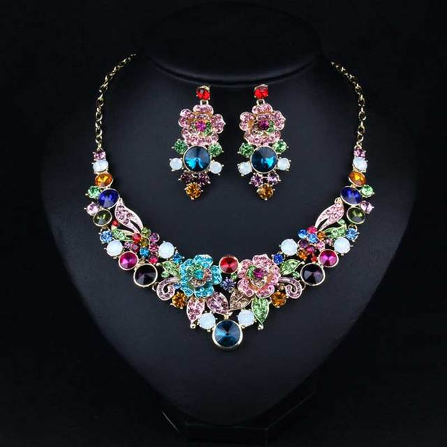 Hot sale Gorgeous multicolor crystal flower bridal jewelry sets