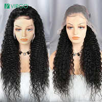 Virgo 13x6 Lace Front Human Hair Wigs Pre Plucked Brazilian HD Transparent Curly Lace Front Wig For Black Women Remy