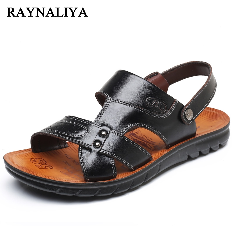 2018 Men Summer Shoes Casual Black Brown Mens Leather Sandals Genuine Designer Outdoor Luxury Mens Beach Sandals BH-B0081