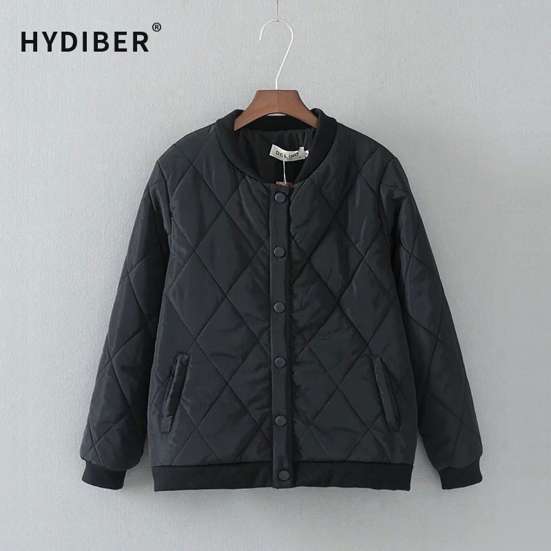 2016 Winter Coat Women Black Jacket Short Cotton Padded Basic Parkas Single Breasted Argyle Bomber Jacket Plus Size Wadded Coat free shipping boruoss 2015 new fashion winter cotton coat women short single breasted coat boruoss w1292