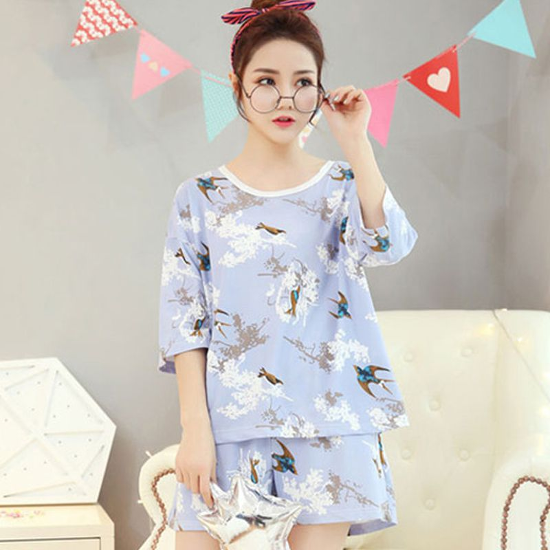 Women Summer Sweet   Pajamas     Set   Swallow Printed Half Sleeved Night Shirt Shorts Woman Suits Sweet Home Cotton Women Sleepwear   Set