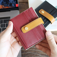 AETOO Goat Sheepskin Wallet Lady Buckle Card pack leather Retro multi card hit color short wallet